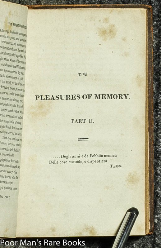 Image for The Pleasure Of Memory, And Other Poems The Pains Of Memory