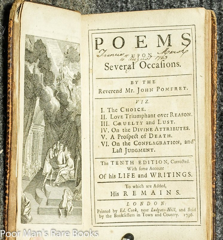 Image for Poems Upon Several Occasions The Tenth Esition, Corrected With Some Account Of His Life And Writings To Which Are Added His Remains