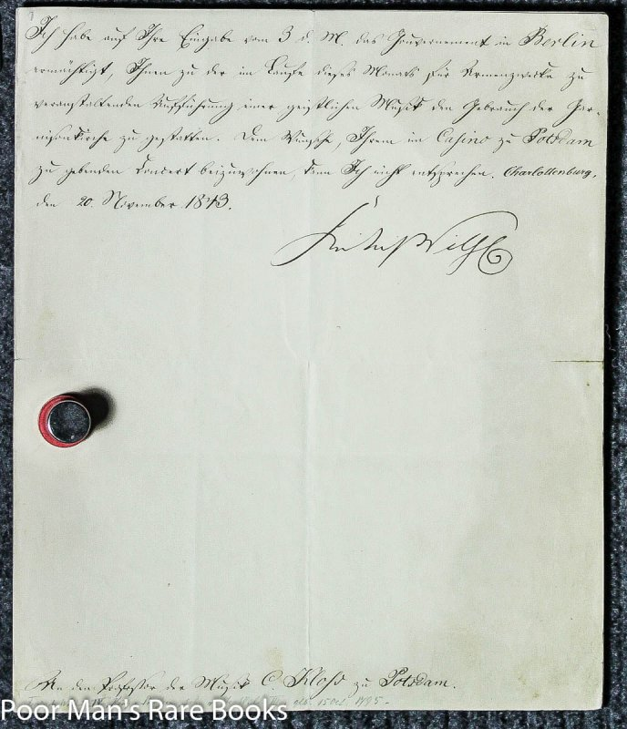 Image for Friedrich Wilhelm I V, King Of Prussia. Letter Signed. 1 Piece. Berlin: June, 1843