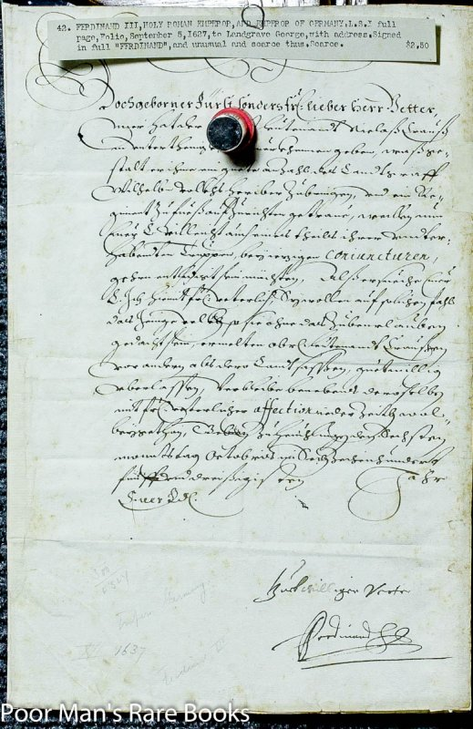 Image for Ferdinand Iii, Document Signed. 5 September, 1627.1 Piece. Folio, Docketed.