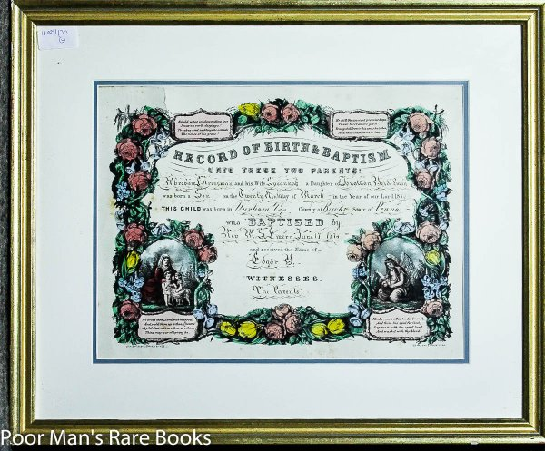Image for Framed Lithograph Record Of Birth And Baptism Currier & Ives