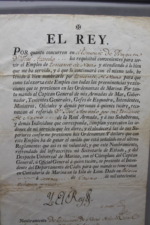 Image for [spanish Navy Lieutenant's Commission] Commission Issued To Jose Acevedo. Jan. 14, 1789