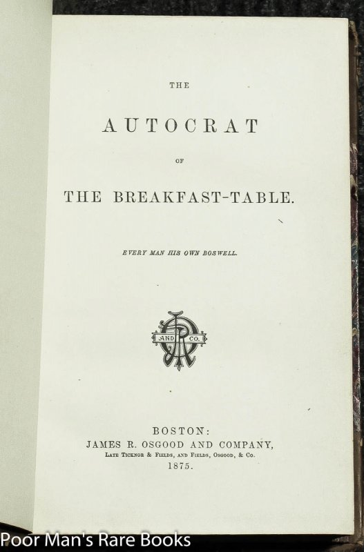 Image for Autocrat Of The Breakfast Table