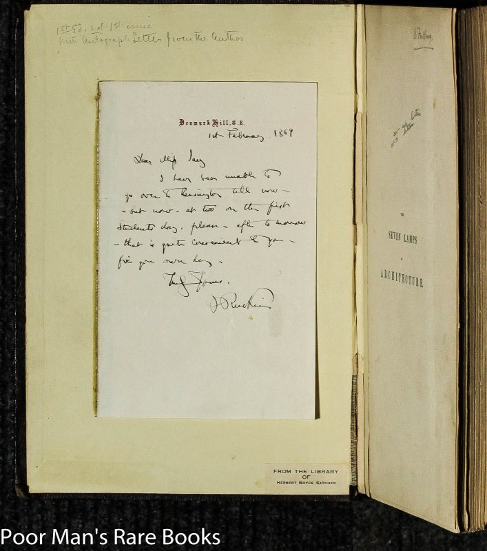 Image for Seven Lamps Of Architecture [ 1st Ed, 1st Issue, Ruskin Signed Letter]