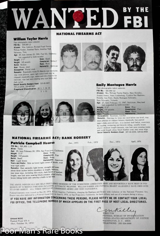 Image for Authentic Wanted By The F B I Poster For Patty Hearst 1975. Printed Both Sides.