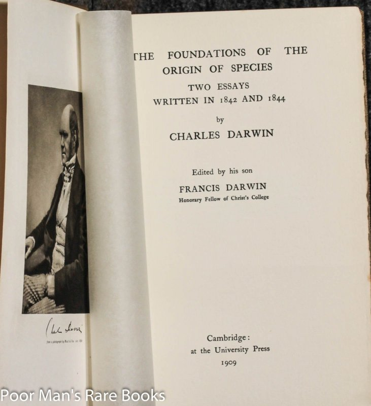 Image for The Foundations Of The Origin Of Species. Two Essays Written In 1843 And 1844.
