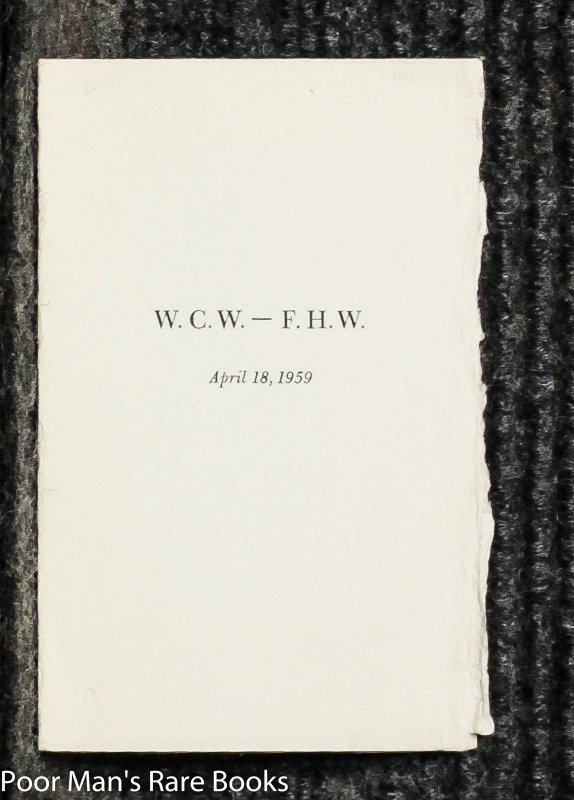 Image for W.C.W. --- F.H.W. April 18, 1959