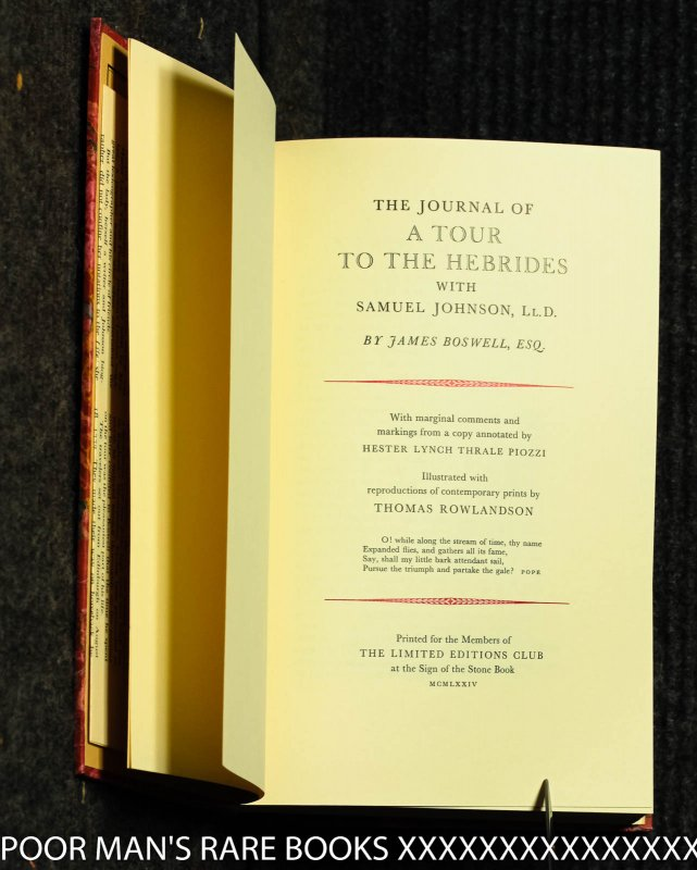 Image for The Journal Of A Tour To The Hebrides With Samuel Johnson [ Limited Editions Club 1974]