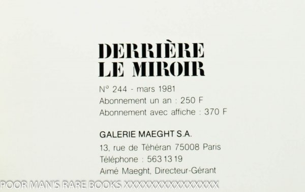 Image for Derriere Le Miroire #244 March 1981 Monory