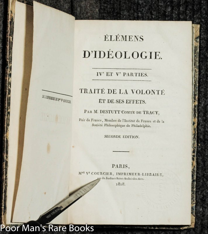 Image for Elemens D'ideologie [ Parts 3, 4 And 5 Second Ediiton In Two Vols]