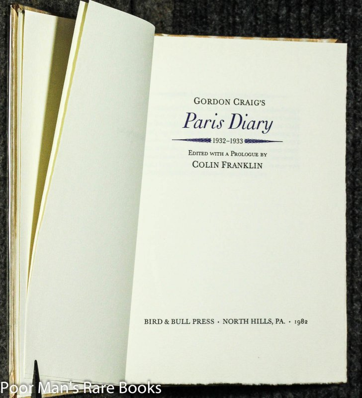 Image for Gordon Craig's Paris Diary 1932-1933 -[ltd 350]