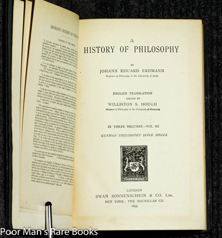 Image for A History Of Philosophy English Translation Edited By Williston S. Hough. In Three Volumes. Complete.