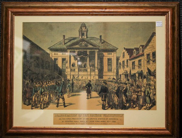 Image for Inauguration Of Gen. George Washington April 30 1789. Photo Lithograph Framed