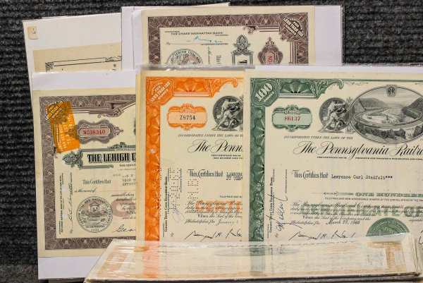 Image for Lot Of 124 Colorful Stock Certificates 1923-83
