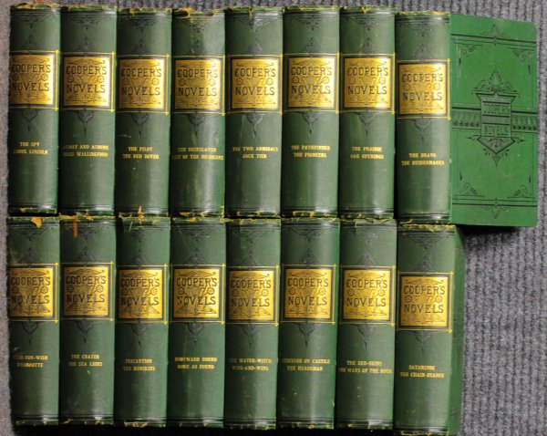 Image for 16 Volume Set James Fenimore Cooper's Novels Illustrated By Darley 1880 Green Cloth