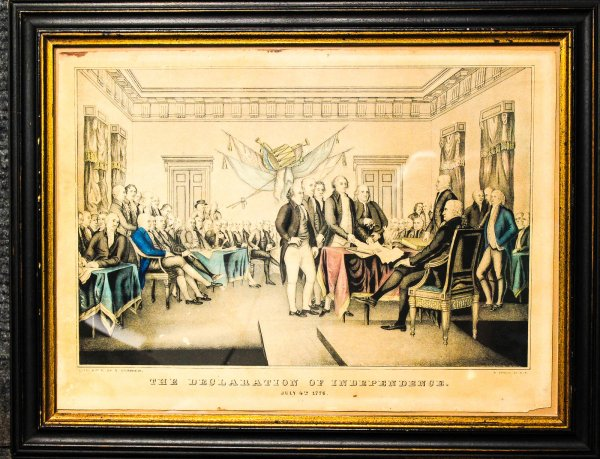 Image for Patriots Looking Over Documents For The Declaration Of Independence. Hand Colored Lithograph