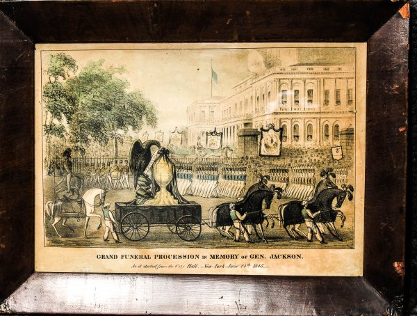 Image for Grand Funeral Procession In Memory Of Gen Jackson As It Started From City Hall 1845 Lithograph