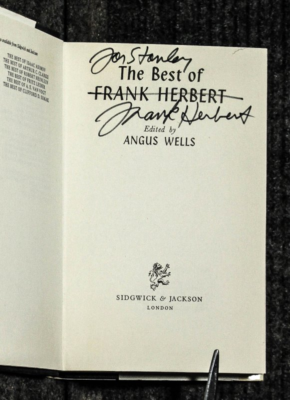 Image for The Best Of Frank Herbert [ Signed First] Edited By Angus Wells