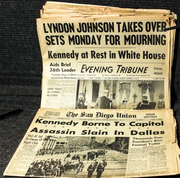 Image for Kennedy Assassination 12 Original Headlines 11/63