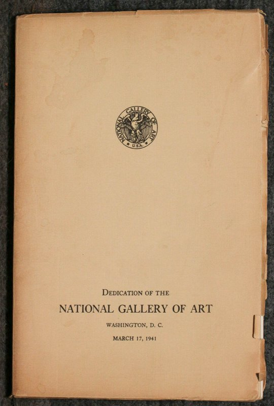 Image for Dedication Of The National Gallery Preliminary Catalogue Of Paintings And Sculpture Of Art March 17, 1941 [#64 Special Edition]i