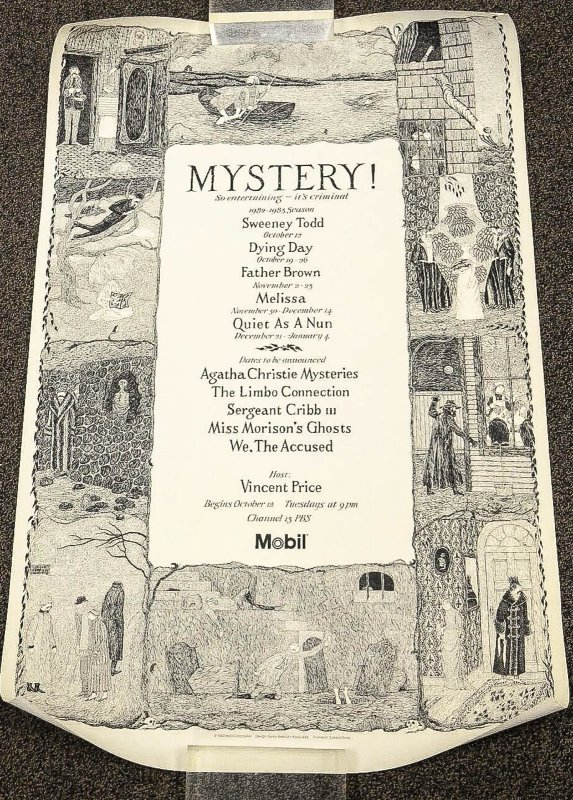 "Image for [ Edward Gorey] Color Lithograph Poster For The 1982 Pbs Special ""Mystery! Presents: G. K. Chesterson's Father Brown, The Divine Detective"