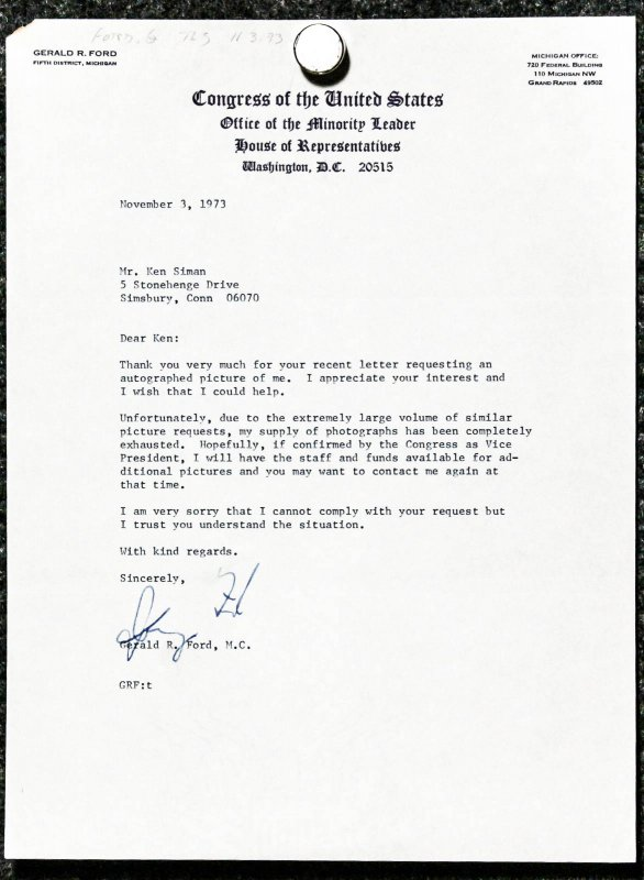 Image for Letter Expressing Thoughts Of Being Confirmed By Congress As Vp 11/3/1973 Typed Letter Signed Gerald R Ford