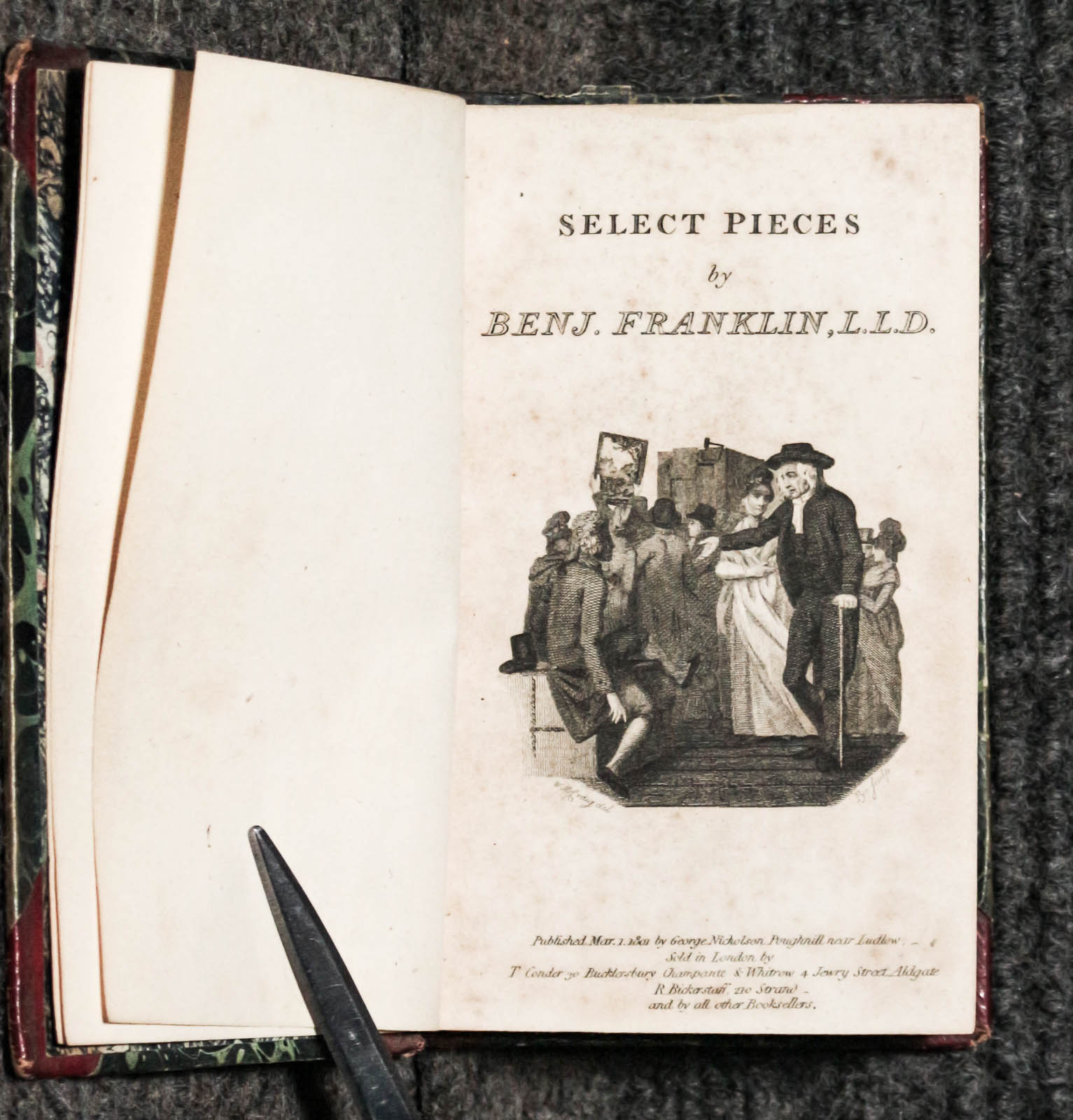 Image for Select Pieces By Benj. Franklin Bound With Poetical Works Of John Cunningham