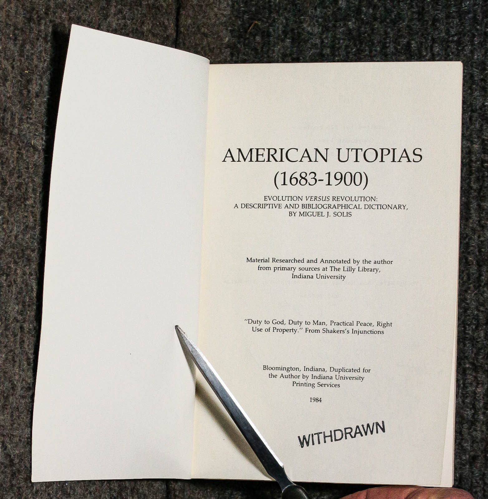 Image for AMERICAN UTOPIAS (1683-1900)  [G]