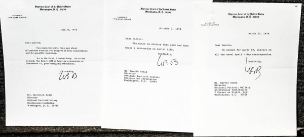 Image for [law] Archive Of 16 Letters From Chief Justice Warren Burger To Marvin S. Sadik, Director Of The National Portrait Gallery. Dated Between 1971 And 1980