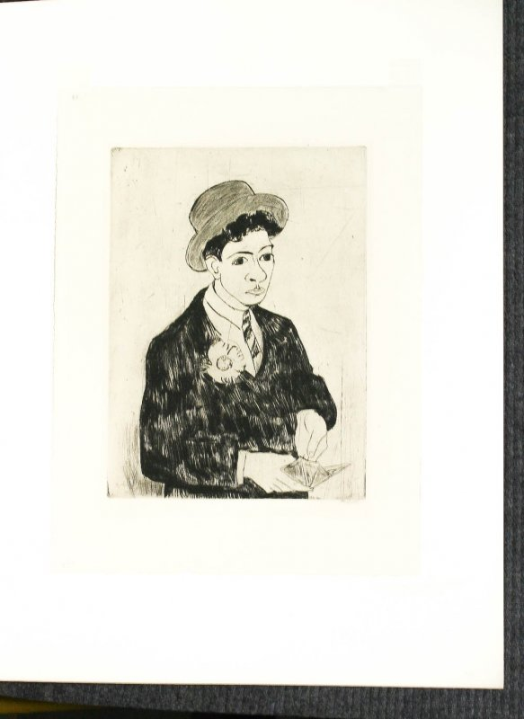 "Image for Young Jew, Etching 1928. Signed By Artist Werner Laves Mounted In Folder 17.5 X 23"" Fine"