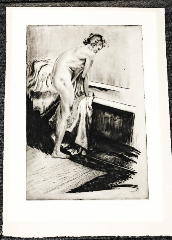 "Image for Nude [bather] Mounted In Folder With Laid In Tissue Protecting It. 21.5 X 17.5"" Etching Pencil Signed"