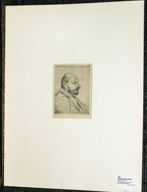 Image for Etching Of Hans Purrman 1921 Fine 1921 Signed And Dated In Pencil Mounted In Folder 17.5 X 23.5""