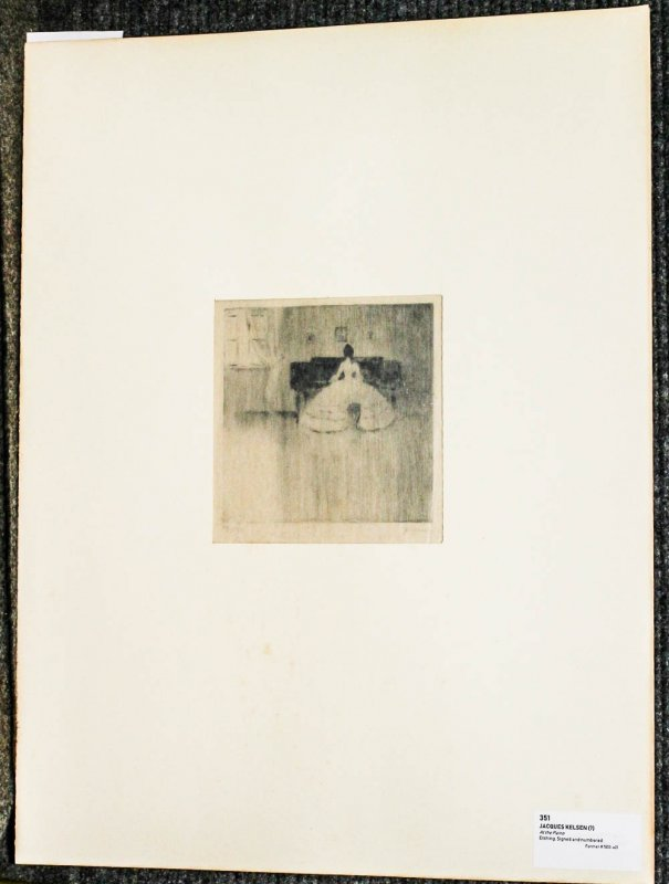 "Image for Etching AT THE PIANO Signed And Numbered In Pencil 17.5"" X 23"".1919 Authentic"