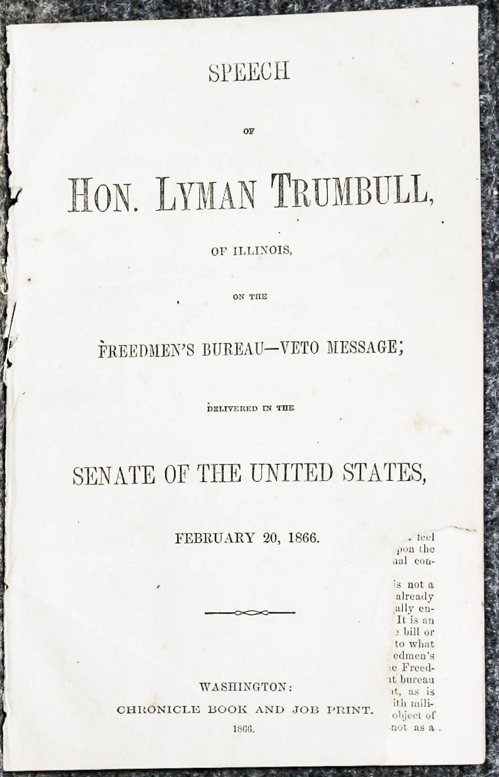 Image for Speech Of Hon. Lyman Trumbull, Of Illinois, On The Freedmen's Bureau- 1866- Extract