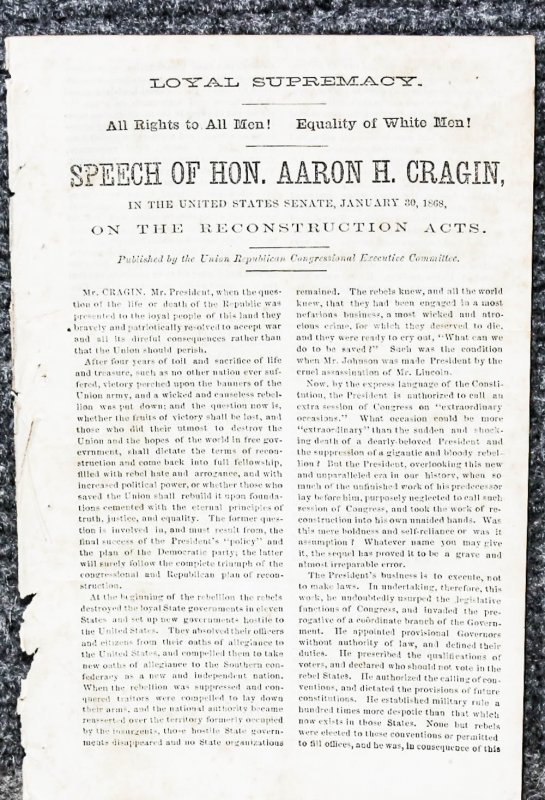 Image for { Lincolniana} Speech Of Hon. Aaron H. Cragin In The United States Senate, Jan 30 1868- Extract