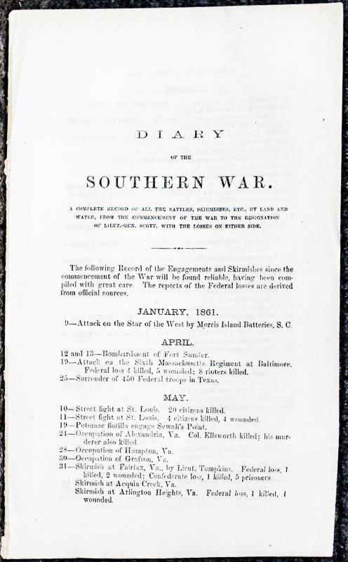 Image for Diary Of The Southern War [all Fights And { Lincolniana} Skirmishes With Losses On Both Sides Extract