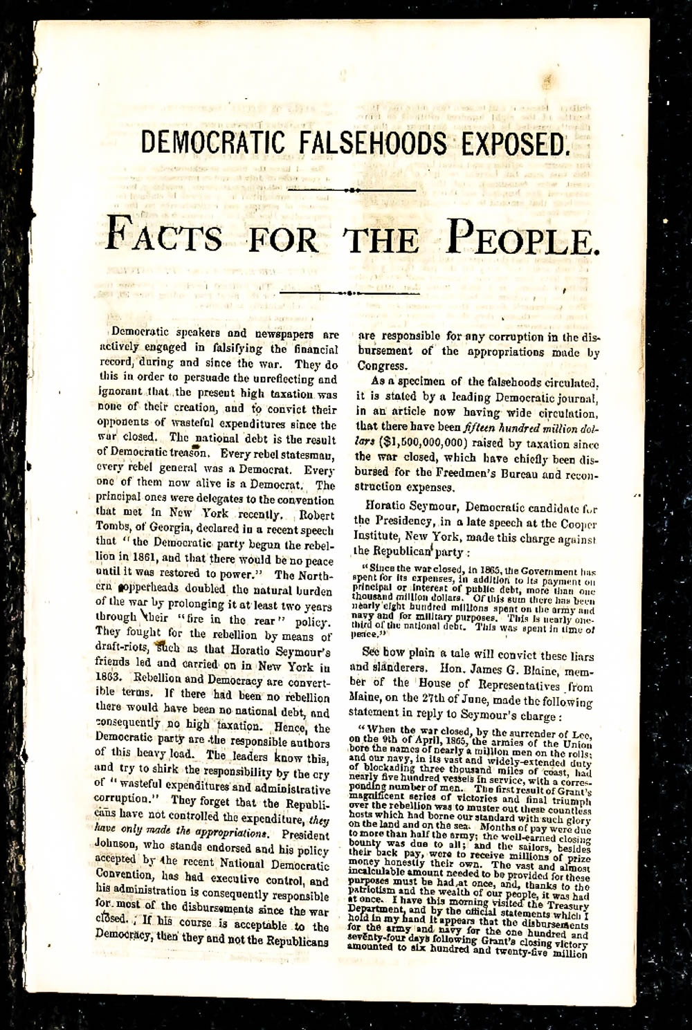 Image for { Lincolniana} Facts For The People 1868 Extract