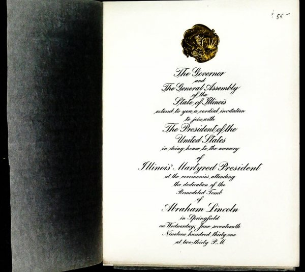 Image for { Lincolniana}...honor To The Memory Of Illinois' Martyred President... Abraham Lincoln...1931 Invitation Card
