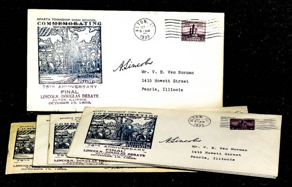 Image for { Lincolniana} 9 First Day Covers Commemorating The Final Lincoln Douglas Debate