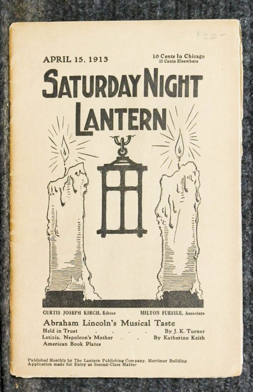 Image for { Lincolniana} Saturday Night Lantern April 15th 1913 Lincoln And Music