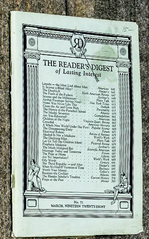 Image for { Lincolniana} The Reader's Digest Of Lasting Interest March.1928,