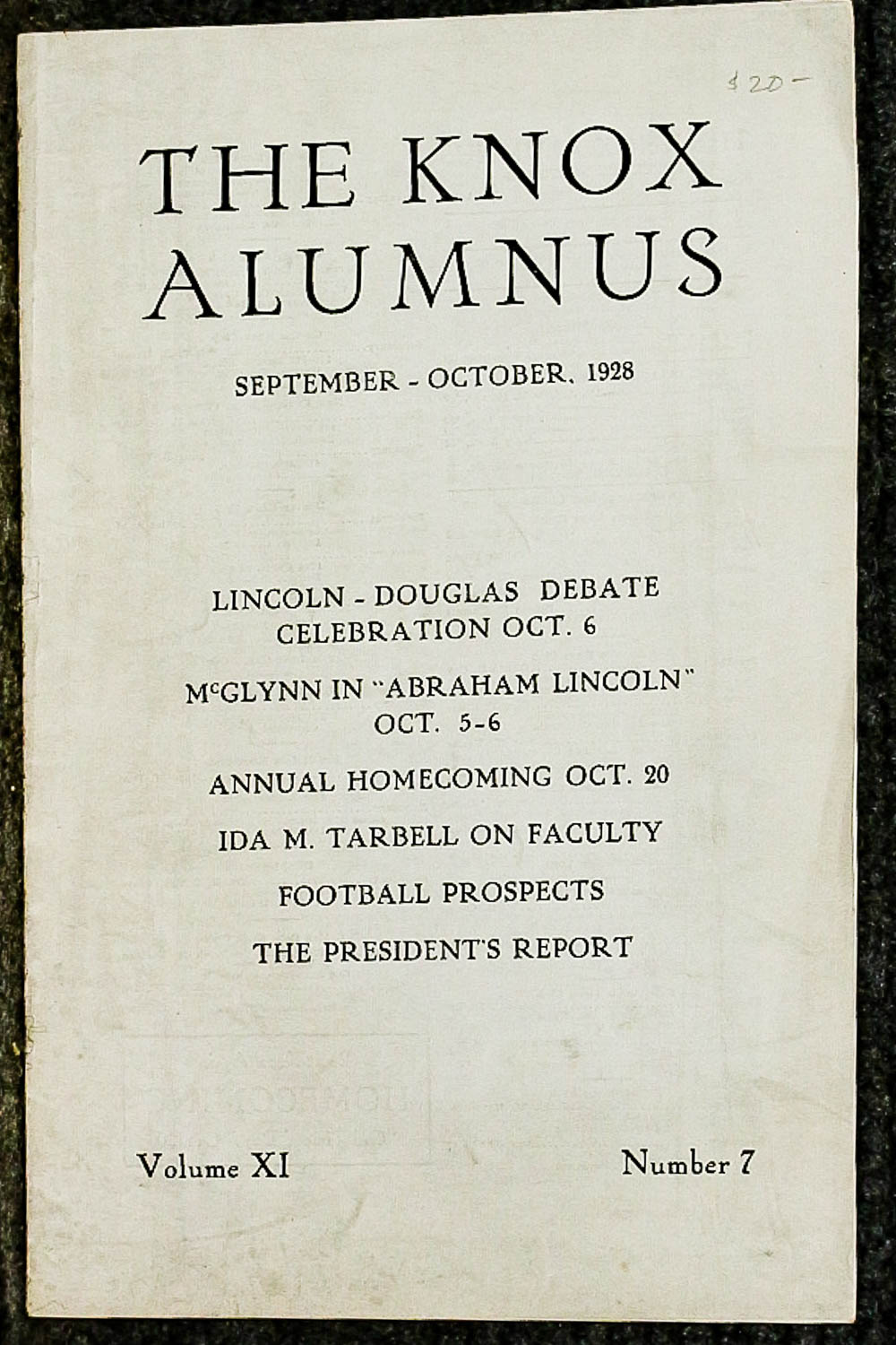 Image for { Lincolniana} The Knox Alumnus Vol XI No 7 1928 [lincoln Related]