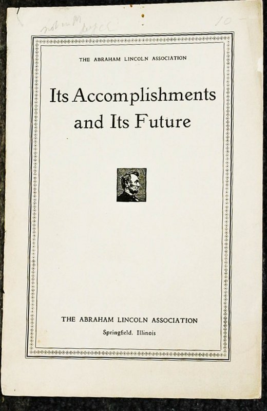 Image for { Lincolniana} Its Accomplishments And Its Future
