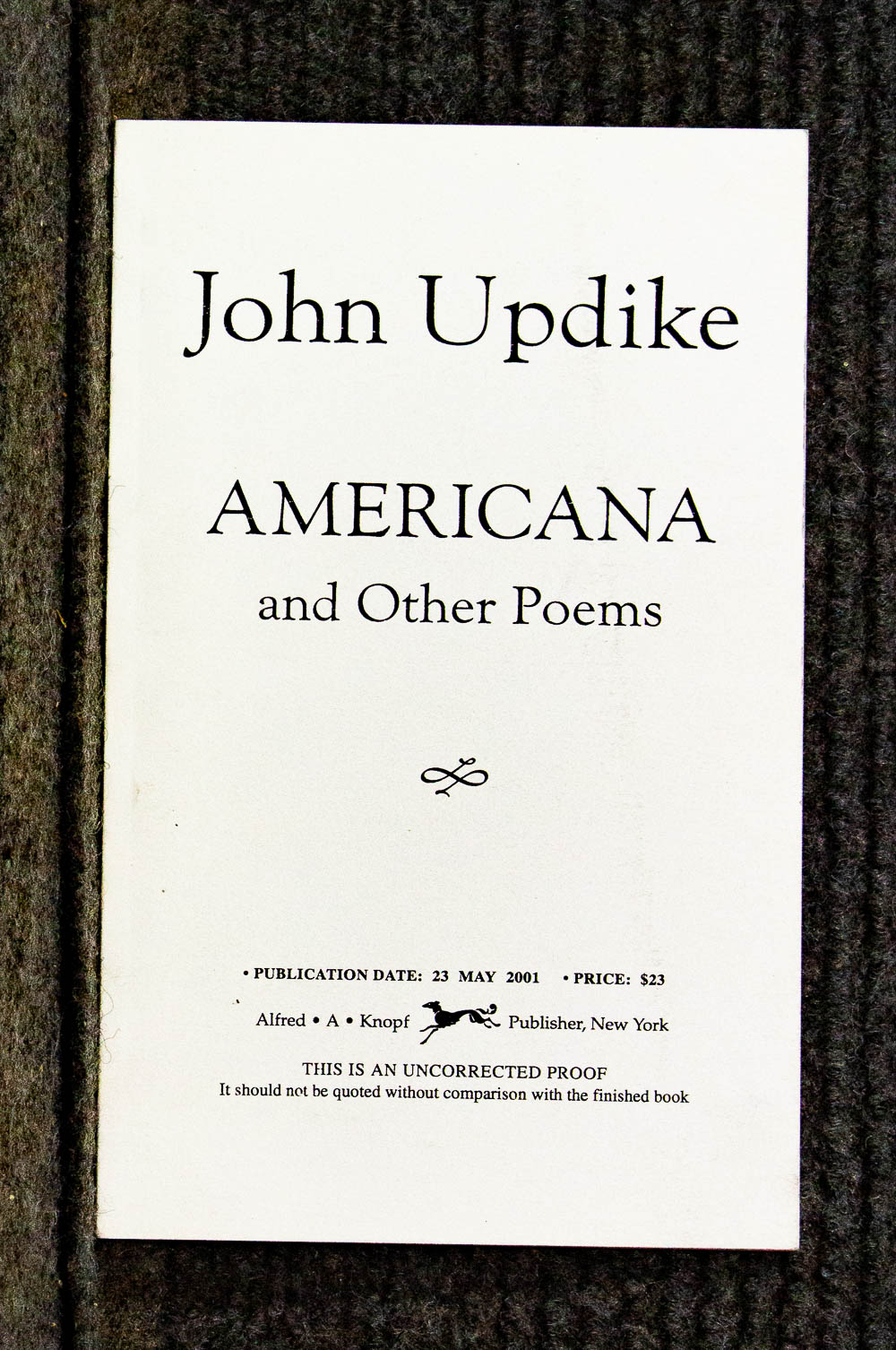 Image for Americana And Other Poems [uncorrected Proof]