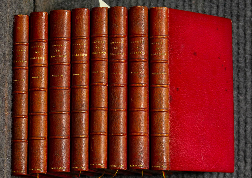 Image for 8 Vols. The Works Of Molire. 2nd Ed. 1697 Fine Red Morocco Leather Uvres De Monsieur De Molire. 30 Engraved Illustrations