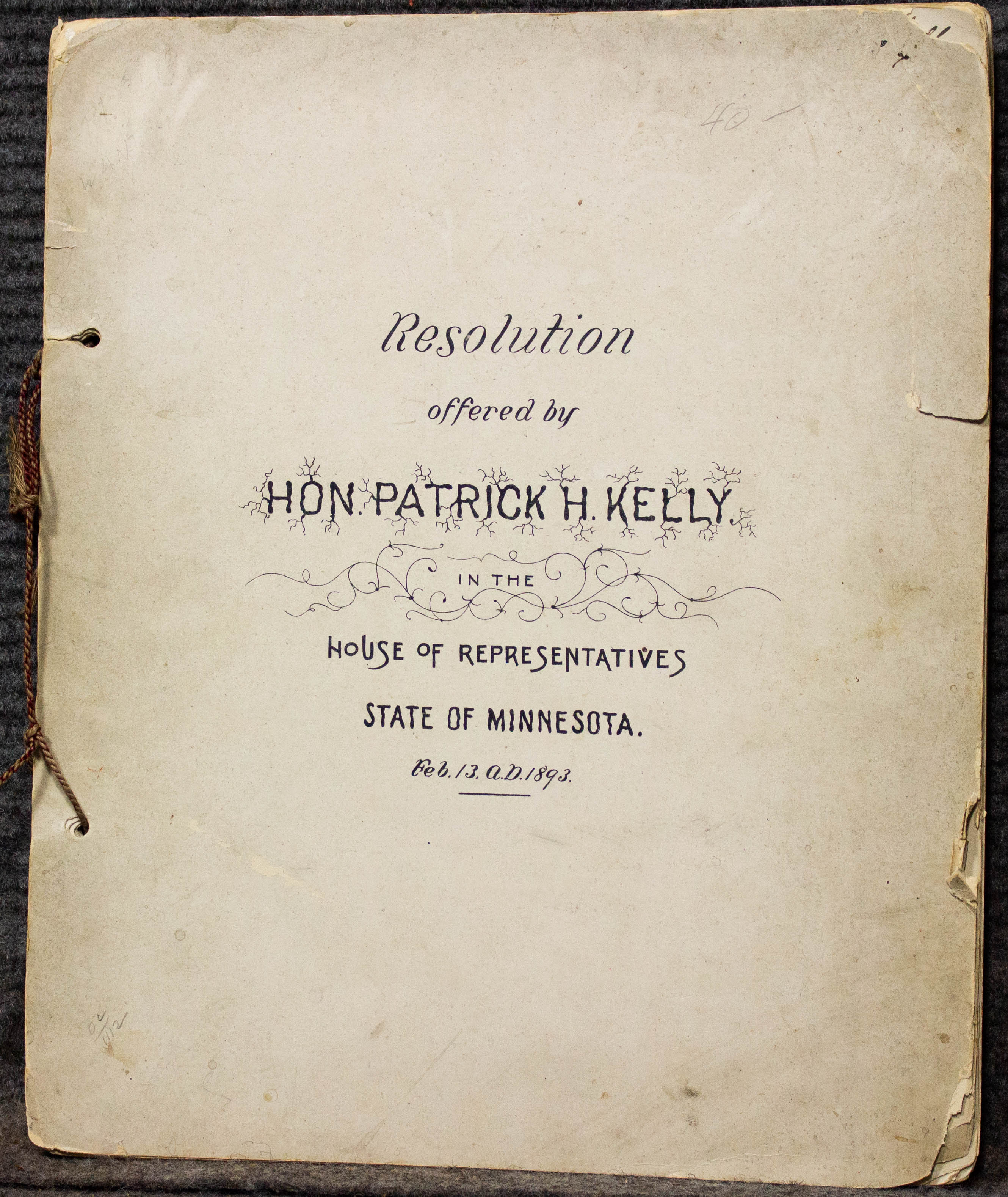 Image for Resolution Offered By Hon Patrick Kelly Mn 1893