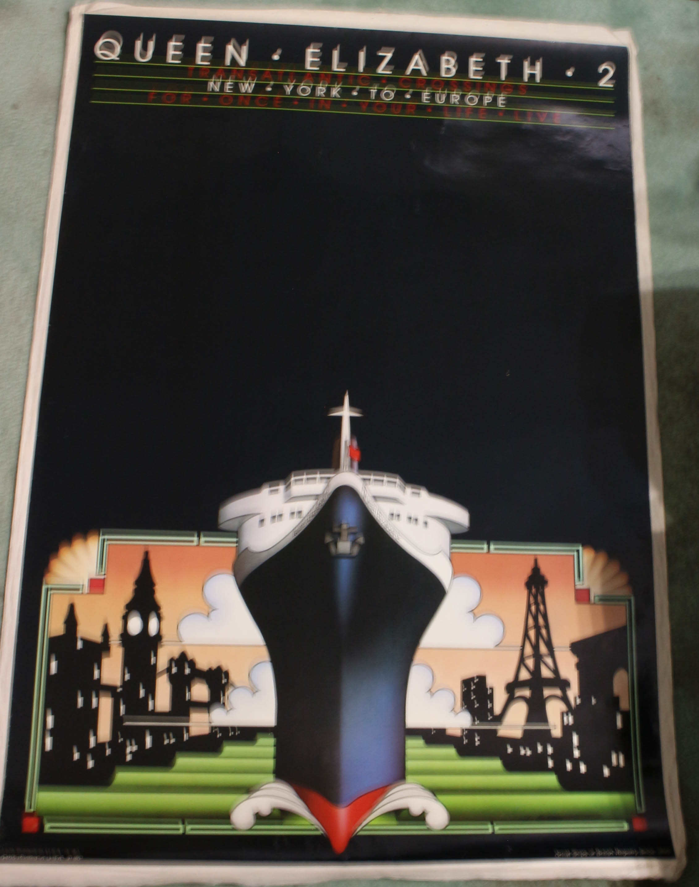 Image for Original Original Vintage Cunard Queen Elizabeth 2 Transatlantic Crossing Poster Free Domestic Shipping