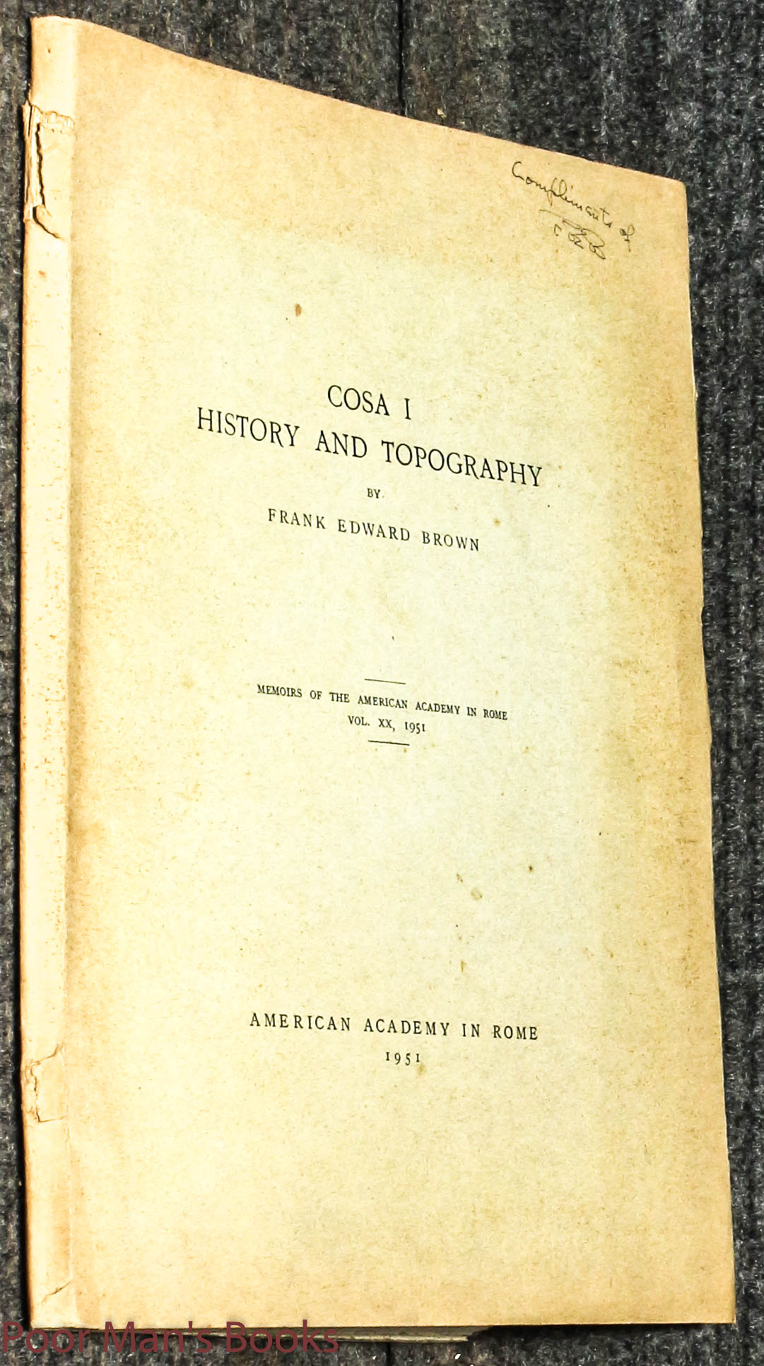 Image for Cosa I History And Topography 1951 Presentation Copy Signed