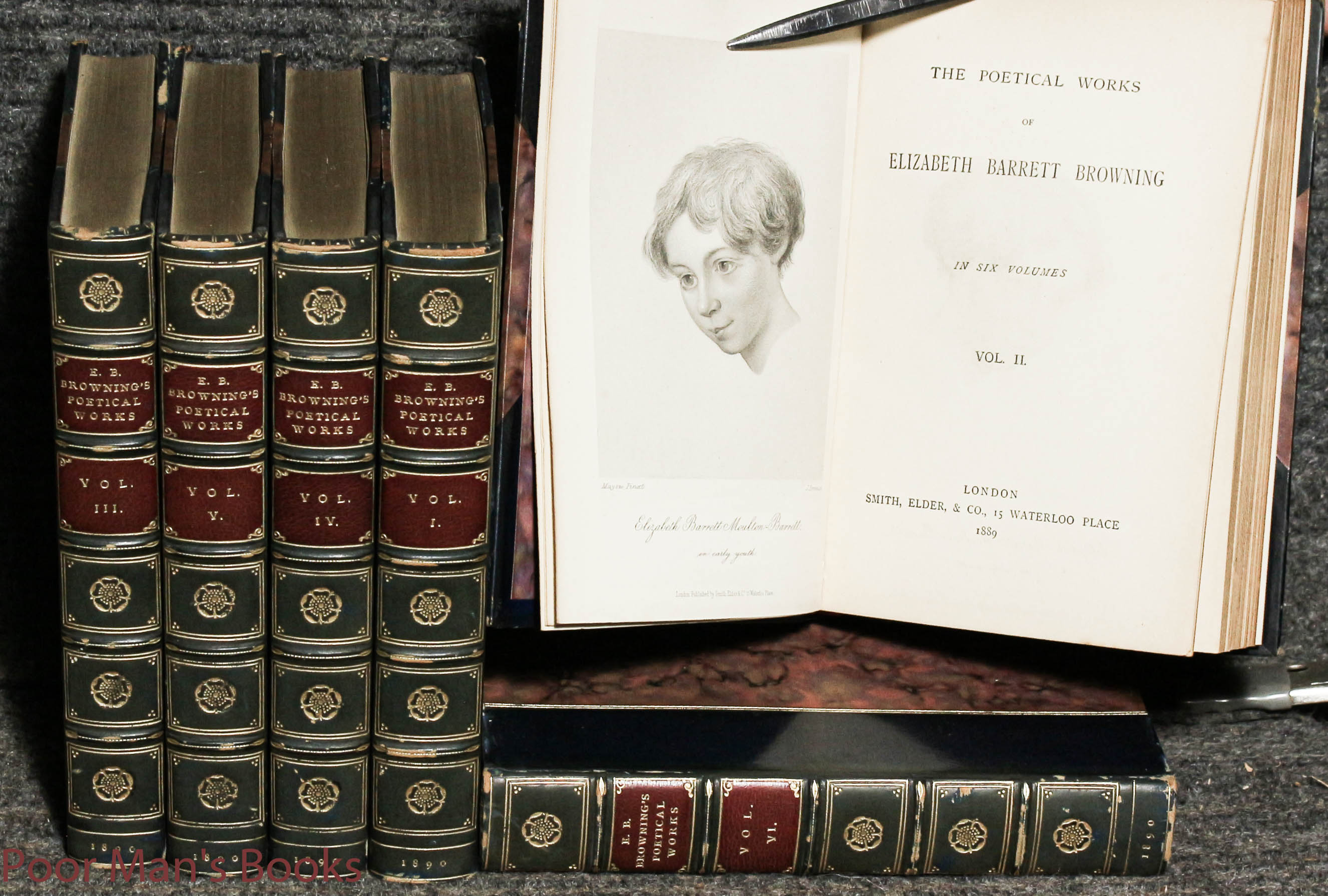 Image for Elizabeth Barrett Browning's Poetical Works. In Six Volumes Complete Fine Bindng