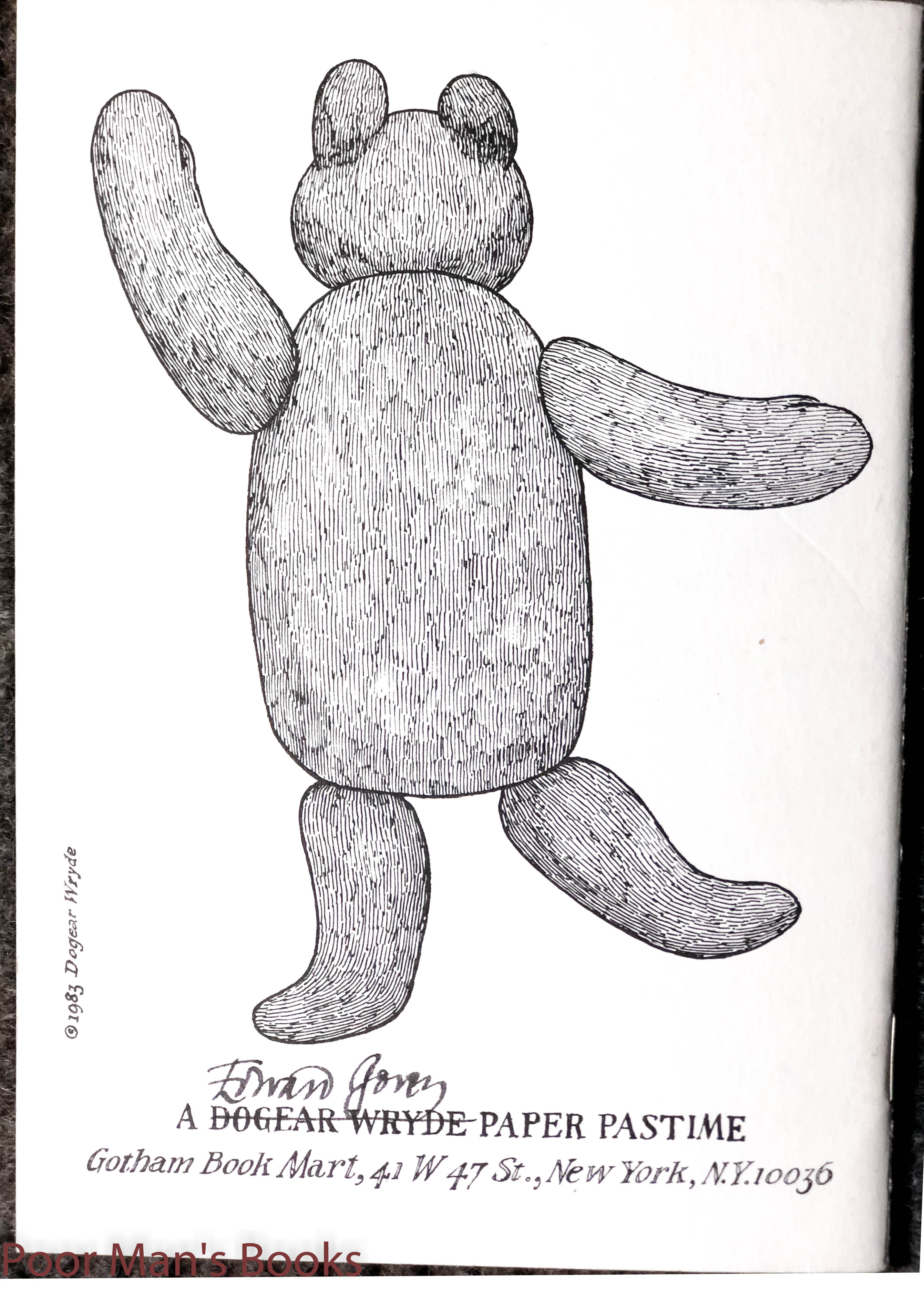 Image for E. D. Ward. A Mercurial Bear. A Dogear Wryde Paper Pastime.signed As Dogear Wryde 1983